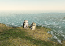 Moai on the Eastern island Stock Images