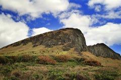 Moai em Rano Ranaku Volcano Quarry fotos de stock