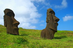 Moai en la isla de pascua Imágenes de archivo libres de regalías