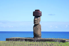 The only moai with eyes on Easter Island Royalty Free Stock Photography