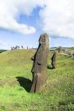 Moai fördärvar i påskön, Chile Arkivbild