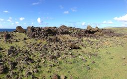 Moai gefallenes Gesicht unten Lizenzfreie Stockfotografie