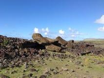 Moai gefallenes Gesicht unten Lizenzfreies Stockbild