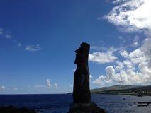 Moai i Hanga Roa Arkivbild