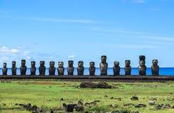 MOAI I PÅSKÖN, CHILE Fotografering för Bildbyråer