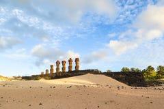 MOAI I PÅSKÖN, CHILE Arkivbilder