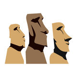 Moai Moais Monolithic Statues Royalty Free Stock Images