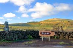Moai na Wielkanocnej wyspie przy Ahu Tongariki Zdjęcia Stock