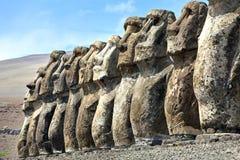 Moai nell'isola di pasqua Fotografia Stock