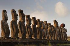 Moai op het Eiland van Pasen Stock Foto
