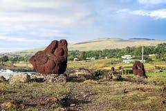 MOAI IN PASEN-EILAND, CHILI Stock Foto's
