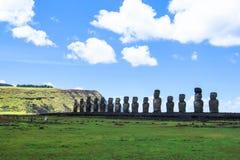 MOAI IN PASEN-EILAND, CHILI Royalty-vrije Stock Foto's