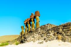 Moai przy Ahu Nau Nau Zdjęcia Stock