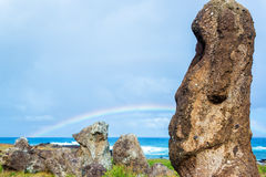 Moai and Rainbow Stock Photo