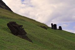 Moai at Rano Raraku, Easter Island Royalty Free Stock Image