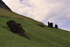 Moai at Rano Raraku, Easter Island. Moai at the quarry, known as Rano Raraku, Easter Island, Chile Royalty Free Stock Image