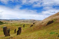 Moai at Rano Raraku on Easter Island (Rapa Nui). Statues at Rano Raraku quarry where the moai of Easter Island were carved Royalty Free Stock Images