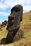Moai at Rano Raraku on Easter Island (Rapa Nui). Rano Raraku quarry where the moai of Easter Island were carved Royalty Free Stock Image