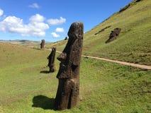 Moai at Rano Raraku. Rano Raraku Moai Factory, Easter Island, Rapa Nui Royalty Free Stock Photography