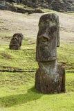 Rapa Nui National Park. Moai in Rapa Nui National Park on the slopes of Rano Raruku volcano on Easter Island, Chile stock photos
