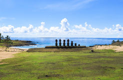Moai Ruins in Easter Island, Chile. This picture is taken in Rapa Nui, Chile. Easter Island Rapa Nui: Rapa Nui, Spanish: Isla de Pascua is a Chilean island in stock photo