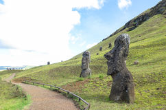 Moai Ruins in Easter Island, Chile. This picture is taken in Rapa Nui, Chile. Easter Island Rapa Nui: Rapa Nui, Spanish: Isla de Pascua is a Chilean island in stock images