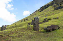Moai Ruins in Easter Island, Chile. This picture is taken in Rapa Nui, Chile. Easter Island Rapa Nui: Rapa Nui, Spanish: Isla de Pascua is a Chilean island in royalty free stock images