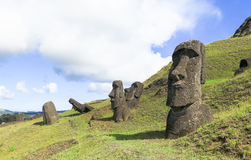 Moai Ruins in Easter Island, Chile. This picture is taken in Rapa Nui, Chile. Easter Island Rapa Nui: Rapa Nui, Spanish: Isla de Pascua is a Chilean island in royalty free stock photos