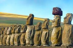 Moai rzędu zbliżenie Zdjęcie Royalty Free