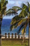 Moai ` s在复活节岛,智利 免版税库存照片