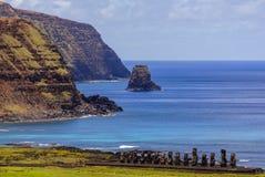Moai ` s雕象在复活节岛,智利 免版税库存图片