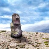 Moai sculpture in the afternoon sun on top of hill Stock Photos
