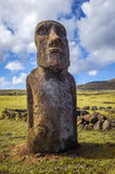 Moai statua, ahu Tongariki, Easter wyspa Zdjęcia Royalty Free