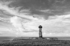 Moai statua na Wielkanocnej wyspie czarny i biały Zdjęcie Stock