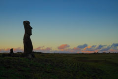 Moai statue ahu akapu at sunset, easter island Royalty Free Stock Photography