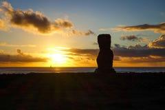 Moai statue ahu akapu at sunset, easter island Stock Images