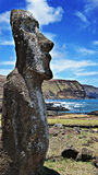 Moai Statue on Easter Island. Moai Statue looking over the Ocean Stock Photos