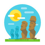 Moai statue flat design landmark Royalty Free Stock Images