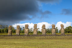 Moai Statues of Ahu Akivi, the only Moai facing the ocean - Easter Island, Chile royalty free stock photo