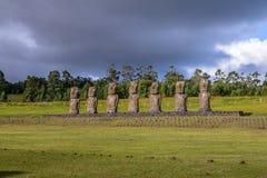 Moai Statues of Ahu Akivi, the only Moai facing the ocean - Easter Island, Chile Stock Photos