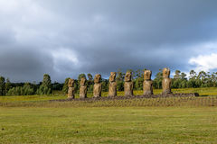 Moai Statues of Ahu Akivi, the only Moai facing the ocean - Easter Island, Chile stock image