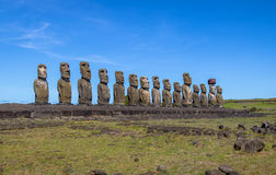 Moai Statues of Ahu Tongariki - Easter Island, Chile stock images