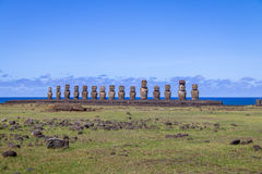 Moai Statues of Ahu Tongariki - Easter Island, Chile stock photo