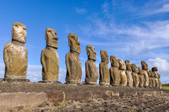 The 15 moai statues in Ahu Tongariki, Easter Island, Chile Royalty Free Stock Image