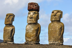 Moai statues in Ahu Tongariki, Easter Island, Chile Royalty Free Stock Images