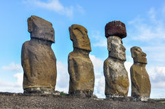 Moai statues in Ahu Tongariki, Easter Island, Chile Royalty Free Stock Photos