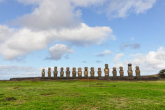 The 15 moai statues in Ahu Tongariki, Easter Island, Chile Stock Photo