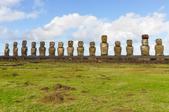 The 15 moai statues in Ahu Tongariki, Easter Island, Chile Stock Images
