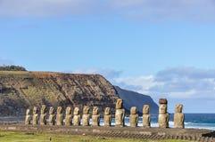 The 15 moai statues in Ahu Tongariki, Easter Island, Chile. The 15 moai statues in the Ahu Tongariki site in Easter Island, Chile stock photo