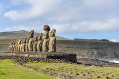 The 15 moai statues in Ahu Tongariki, Easter Island, Chile Stock Photos